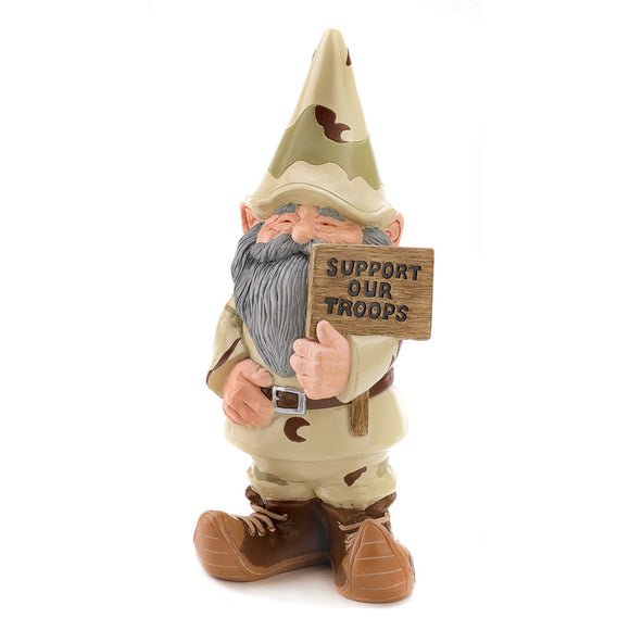 The Gnomes, Funny David The Gnome, Outdoor Miniature Support Our Troops Gnome