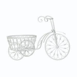 Decorative Planters, Modern White Iron Bicycle Large Garden Planters