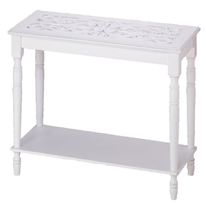 Long Console Table, Wall Side Rustic Tall Long Side Table White