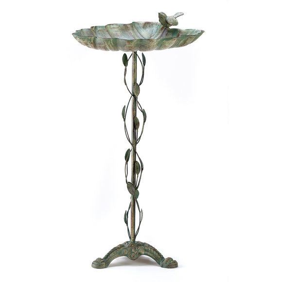 Hummingbird Bird Bath, Iron Antique Style Modern Bird Bath Parakeet - Verdigris