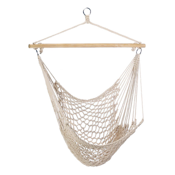 Hammock Swing Chair, Beige Hanging Chairs Outdoor Recycled Cotton Fabric Rope