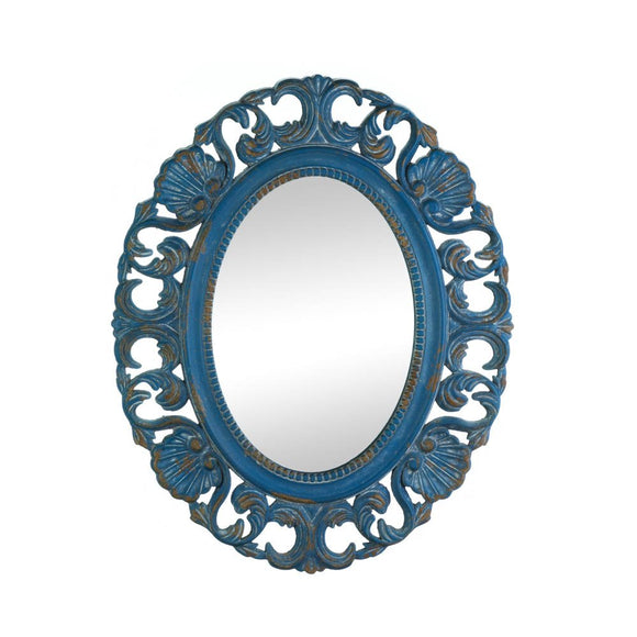 Wall Mirrors For Bedroom, Large Ornate Wall Mirror Antique Mdf Wood Frame Blue
