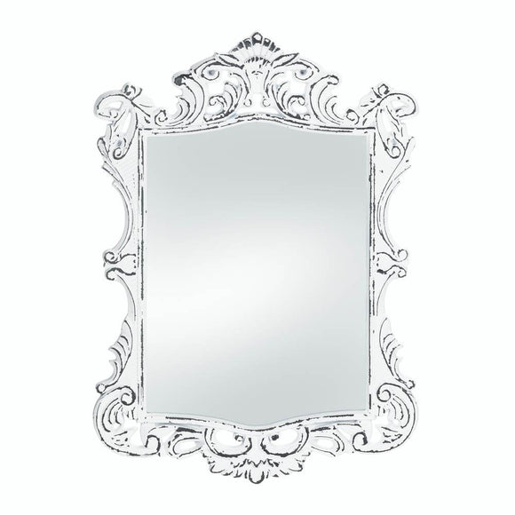 Mirror Wall, Rustic Contemporary Framed Square Regal White Etched Wall Mirror