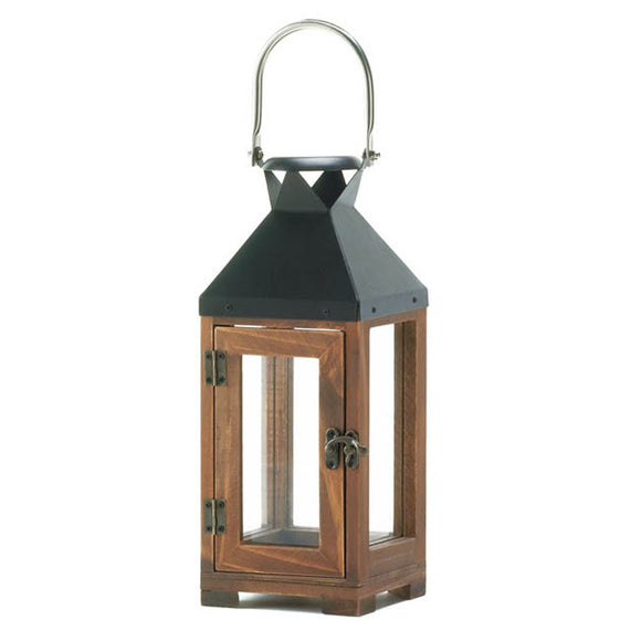 Lantern Candle Holders, Small Wooden Outdoor Candle Lantern Decor - Pine Wood