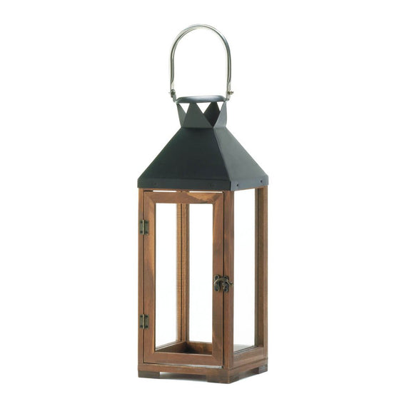 Candle Lantern Decor, Decorative Hanging Lantern Candle Holder Wood Glass