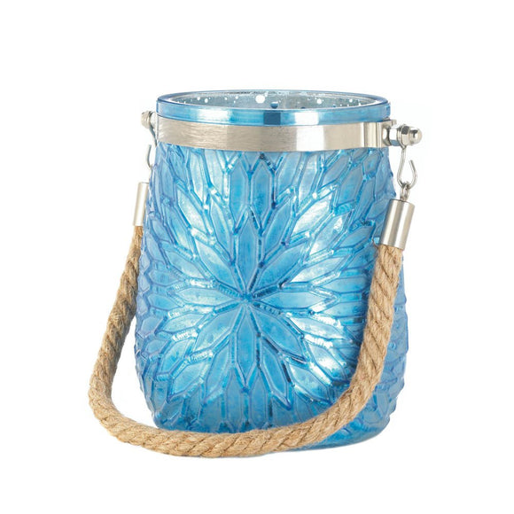 Candle Holders Glass, Colored Jar Candle Holder, Blue Flower Glass Candleholder