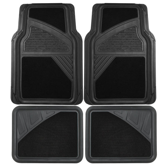 Floor Mats Car Black Heavy Duty 4 Pc Rubber Carpet Universal Floor Mats For Cars