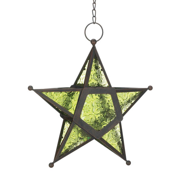 Star Lantern Light, Green Large Modern Iron Glass Lanterns Decorative Light