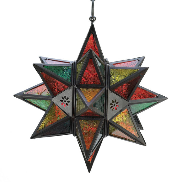 Star Lanterns, Colored Large Modern Metal Glass Lanterns  Light