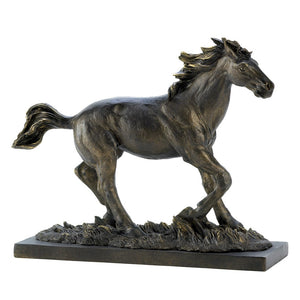 Horse Statue, Stallion Black Race Horse Sculpture Decor Desk Art