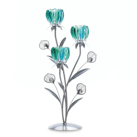 Candle Flower Holder, Colored Tall Wrought Iron Candle Holders Set