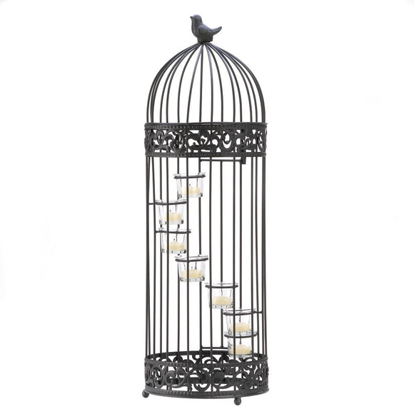 Antique Candle Holder, Bird Cage Tall Metal Candle Holders Set