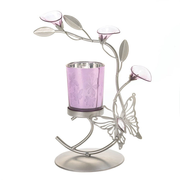 Metal Flower Candle Holder, Iron Metallic Candle Holders Butterfly Lily