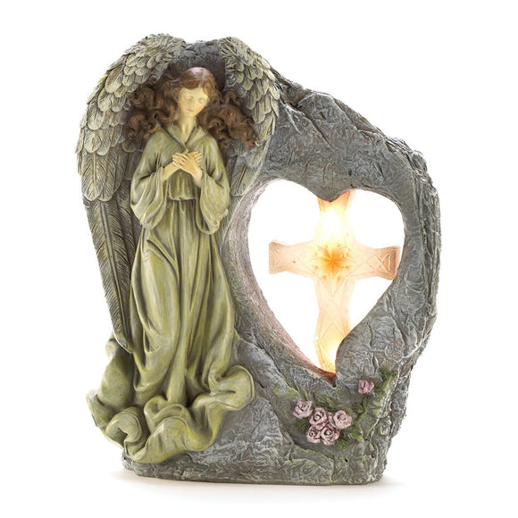 Solar Garden Angel Statue, Polyresin Decorative Outdoor Solar Figurines