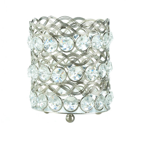Candle Holders Crystal, Modern Round Glass Small Clear Crystal Candle Holder