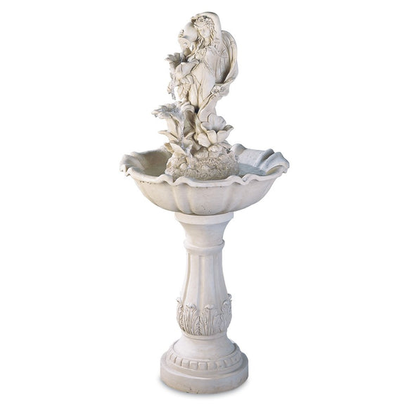 Water Fountain, Designers Backyard Stone Fairy Maiden Outdoor Garden Fountains