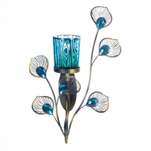 Sconces Wall Decor, Modern Peacock Plume Glass Wall Sconce Candle Holder