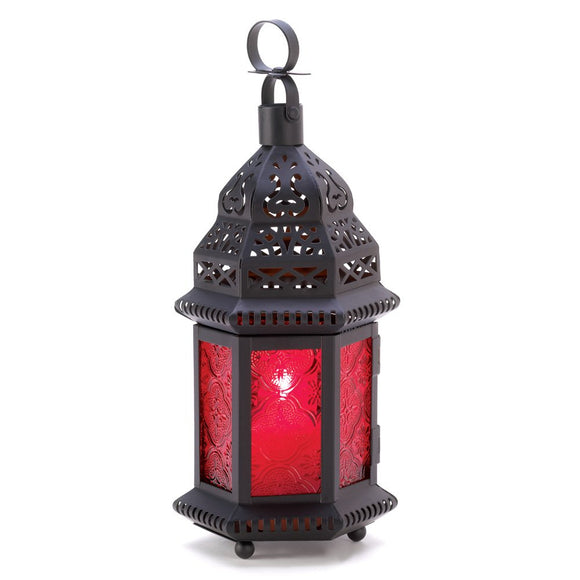 Moroccan Lantern Candle Holder, Metal Candle Lanterns Decorative Red Glass