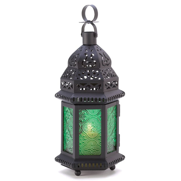 Large Moroccan Lantern, Decorative Lanterns For Candles Light - Green Glass