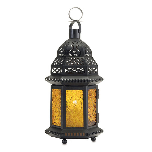 Moroccan Lantern Table, Yellow Glass Moroccan Decorative Lanterns For Candles