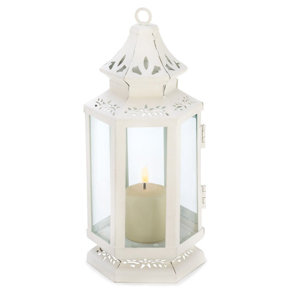 Lantern Candle White, Outdoor Antique Decor, Victorian Candle Lantern Holder