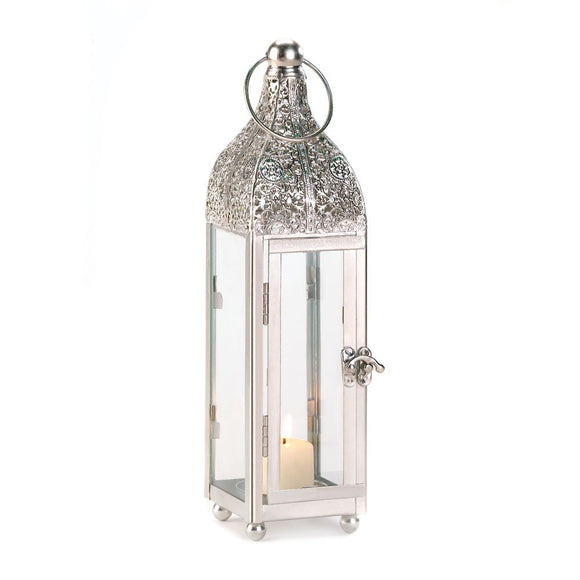 Lantern Candle White, Outdoor Antique Decor, Small Ornate Candle Lantern Holder