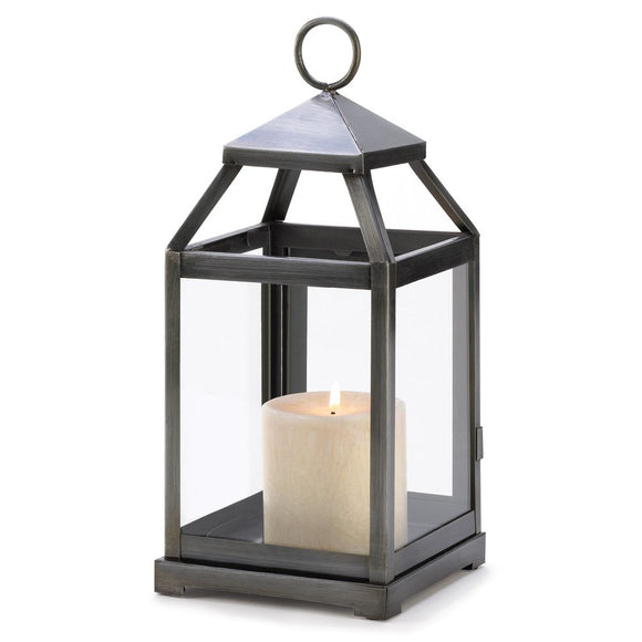 Metal Candle Lanterns, Outdoor Small Rustic Silver Metal Candle Lantern Holder