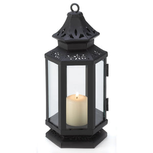 Candle Lantern Decor, Small Iron Stagecoach Outdoor Metal Candle Lanterns Black