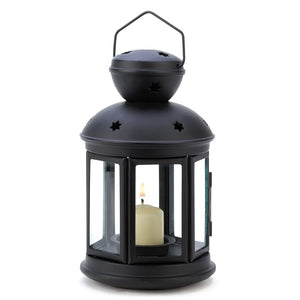 Metal Lantern Candle, Small Colonial Rustic Candle Lanterns Black - Iron