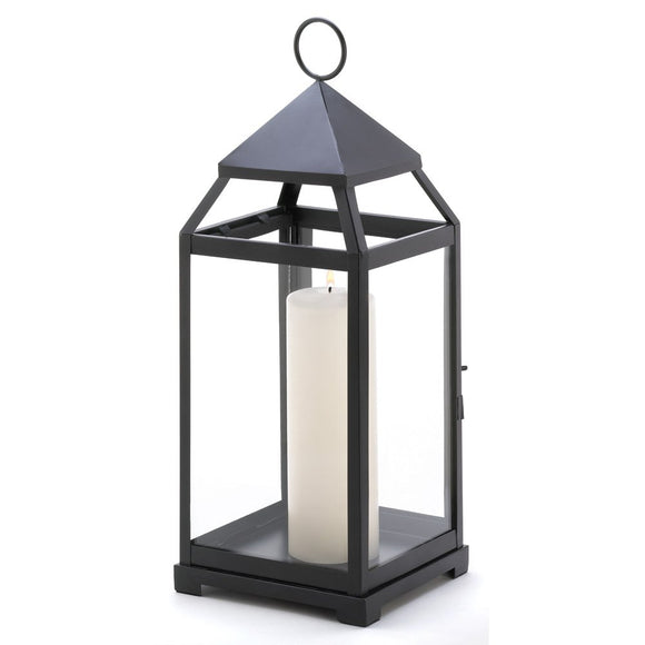 Metal Candle Lanterns, Large Iron Black Outdoor Candle Lantern For Patio Decor