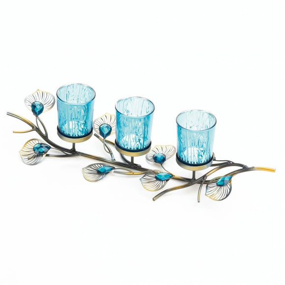 Antique Candle Holder, Antique Rustic Peacock Inspired Table Candle Holder Set