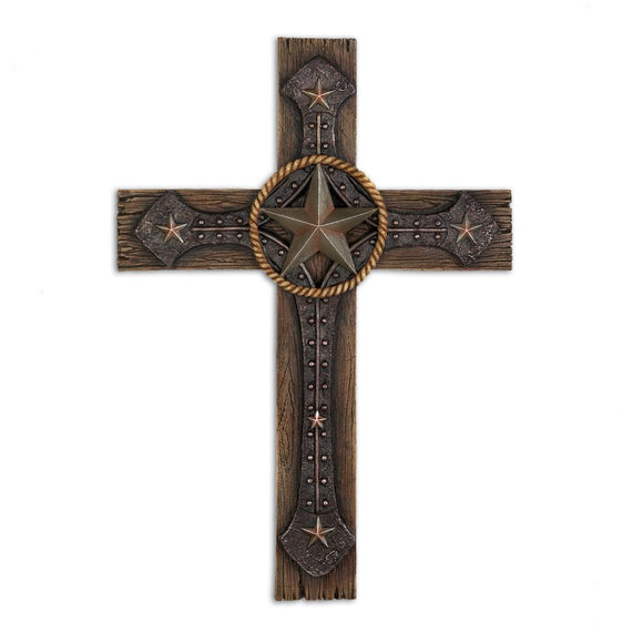 Rustic Wall Cross, Polyresin Decorative Cross Wall Mount Plaque