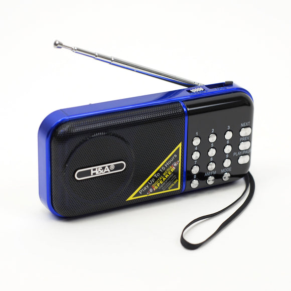Handheld Radio Am Fm, Pocket Mp3 Player Portable Digital Radio With Usb (blue)