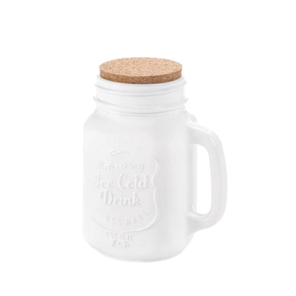 Mason Jars With Lid, Cork Lid White Mason Jar Kitchen Decor Storage - Glass