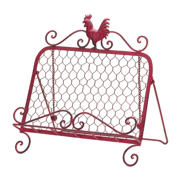 Metal Cookbook Stand, Rustic Rooster Holder Kitchen Cookbook Stand