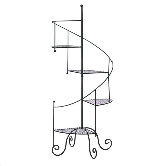 Iron Plant Stand, Black Outdoor Tiered Tall Spiral Showcase Metal Plant Stands