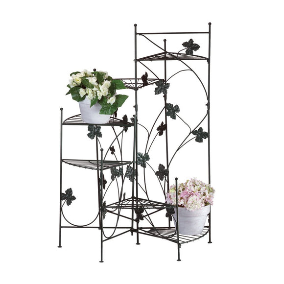 Iron Plant Stand, Black Outdoor Tiered Tall Ivy Staircase Metal Plant Stands