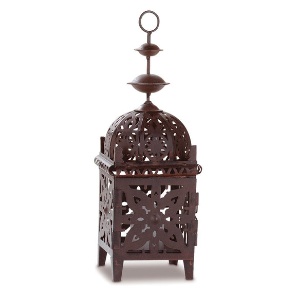 Moroccan Decorative Lanterns, Rustic Brown Candle Lantern Decor For Table