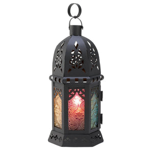 Outdoor Moroccan Lantern, Iron Candle Lanterns Decorative With Stained Glass