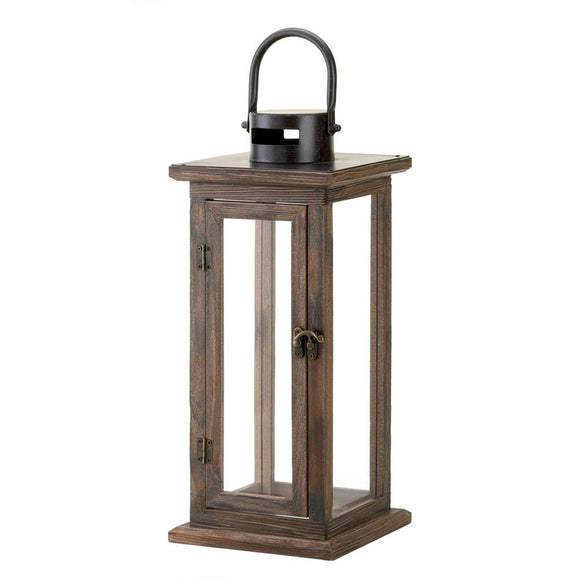 Decorative Candle Lanterns, Large Wood Rustic Outdoor Candle Lantern Decor