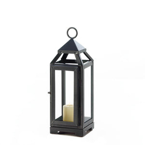 Candle Lantern Decor, Outdoor Rustic Iron Small Slate Black Metal Candle Lantern