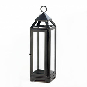 Lantern Candle Holder, Decorative Outdoor Tall Slate Black Metal Candle Lantern