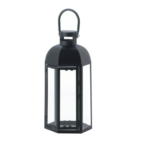 Black Lantern Candle, Small Outdoor Decor Metal Lantern Candle Holder