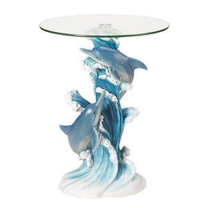 Coffee Table Sculpture, Playful Dolphins Round Accent Tables For Living Room