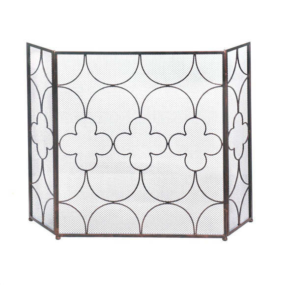 Metal Fireplace Screen, Decorative Arched Three Panel Iron Mesh Fireplace Screen
