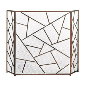 Fireplace Screens Decorative, Three Panel Iron Rustic Fireplace Screen