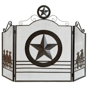 Modern Fireplace Screen, Contemporary Rustic Lone Star Fireplace Screens Black