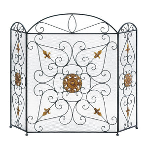 Fire Screen For Fireplace, Black Metal Mesh Fireplace Screens Three Panel