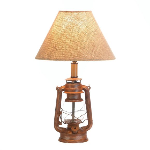 Room Table Lamp, Vintage Lantern Style Night Desk Lamp Rustic - Iron And Glass