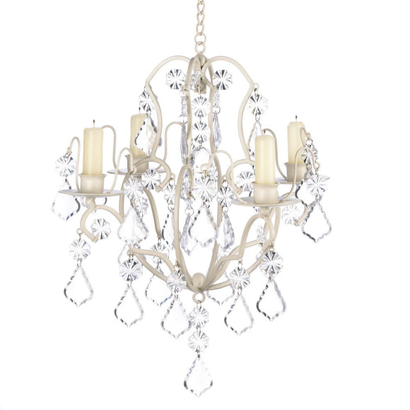 Candle Chandelier Hanging, Off White Chandelier Candle Lighting Holders - Iron